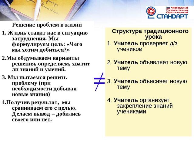 Структура традиционного урока 1. Учитель проверяет д/з учеников 2. Учитель о...