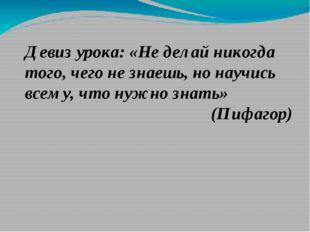 Девиз урока: «Не делай никогда того, чего не знаешь, но научись всему, что ну