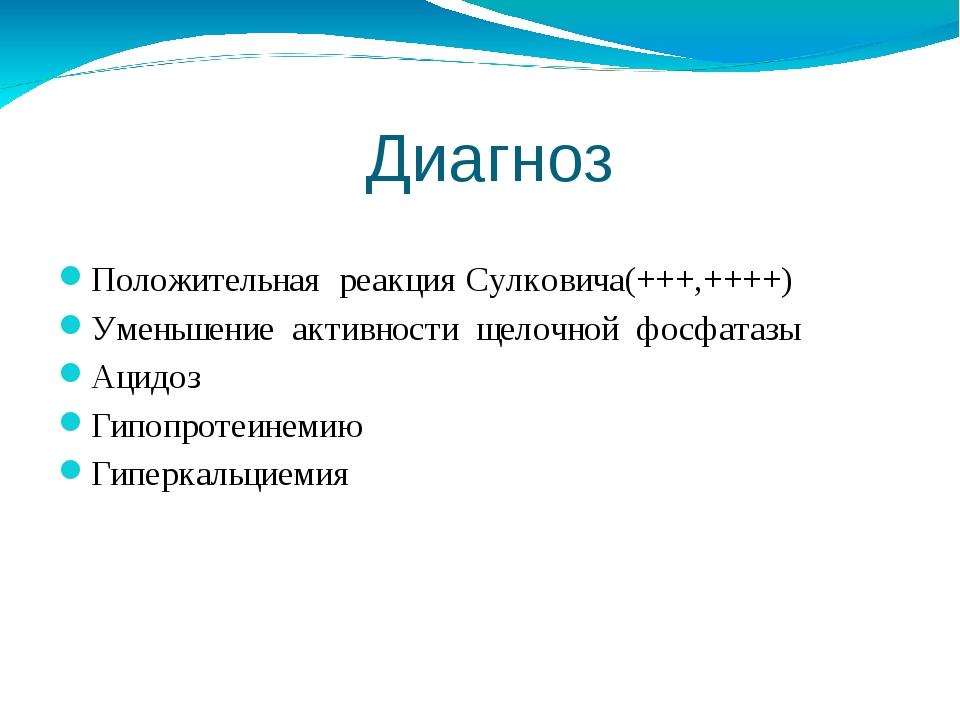 Диагноз Положительная реакция Сулковича(+++,++++) Уменьшение активности щело...