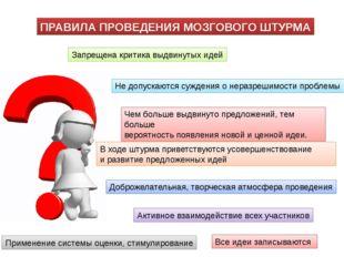 Запрещена критика выдвинутых идей Не допускаются суждения о неразрешимости пр