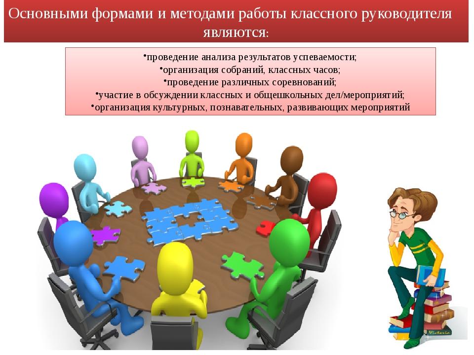 проведение анализа результатов успеваемости; организация собраний, классных ч...