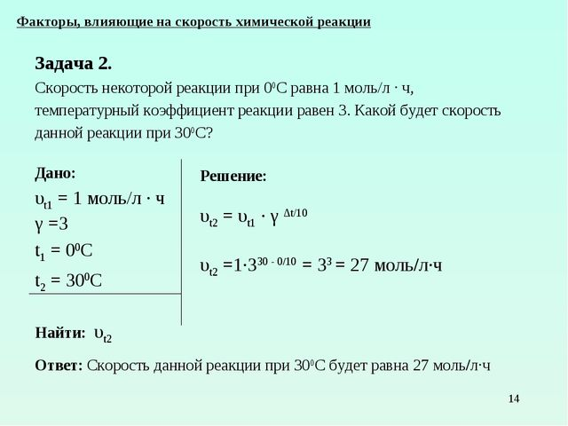 * Дано: υt1 = 1 моль/л ∙ ч γ =3 t1 = 00С t2 = 300С Найти: υt2 Факторы, влияющ...