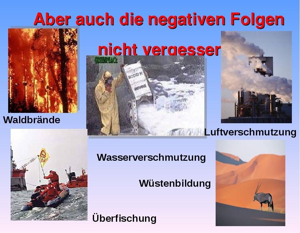 Aber auch die negativen Folgen nicht vergessen Waldbrände Luftverschmutzung W...