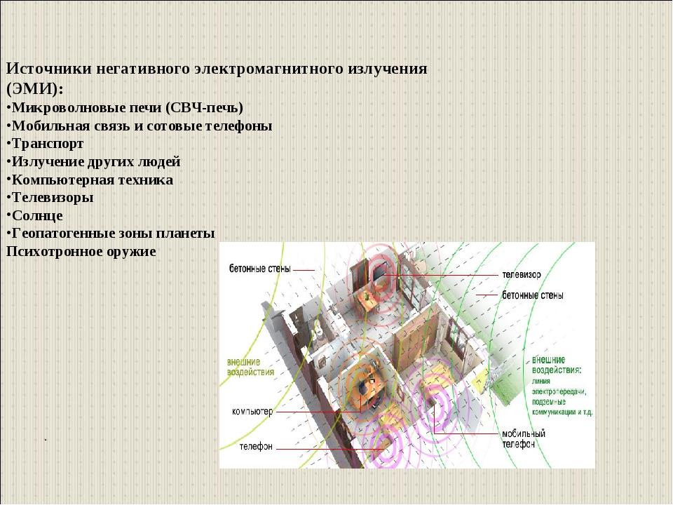 . Источники негативного электромагнитного излучения (ЭМИ): Микроволновые печи...