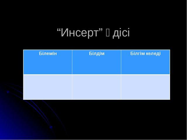 """""""Инсерт"""" әдісі БілемінБілдімБілгім келеді"""