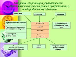 Алгоритм координации управленческой деятельности школы по ранней профилизации