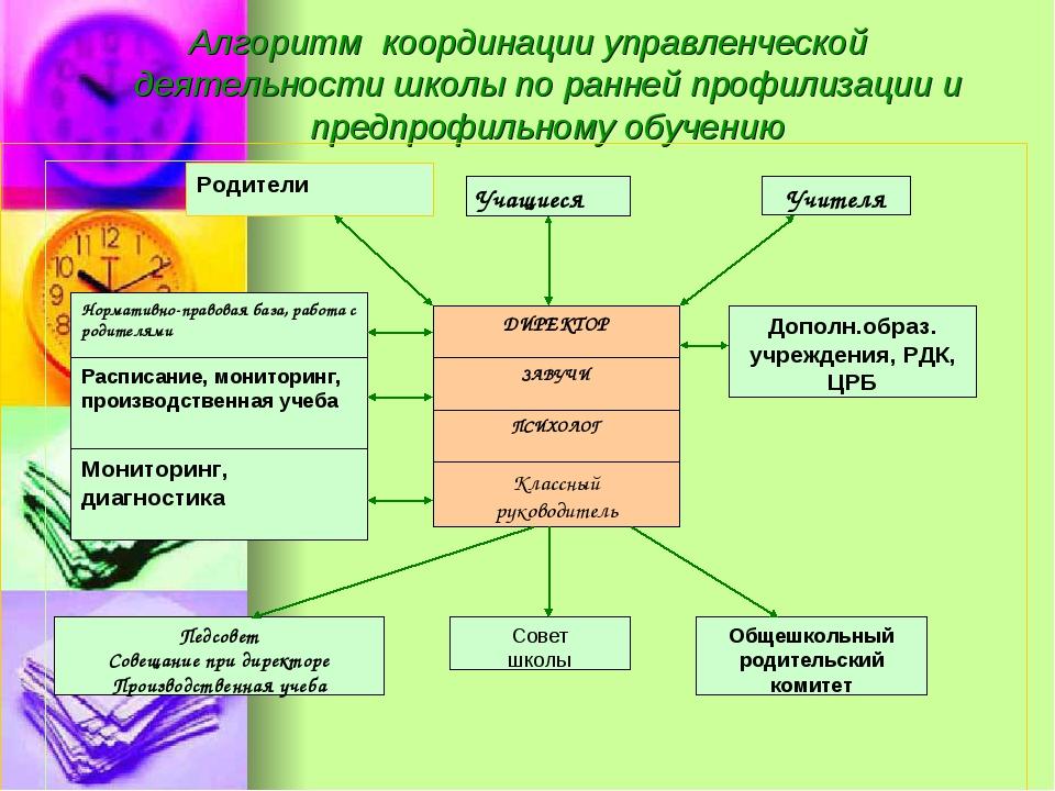 Алгоритм координации управленческой деятельности школы по ранней профилизации...