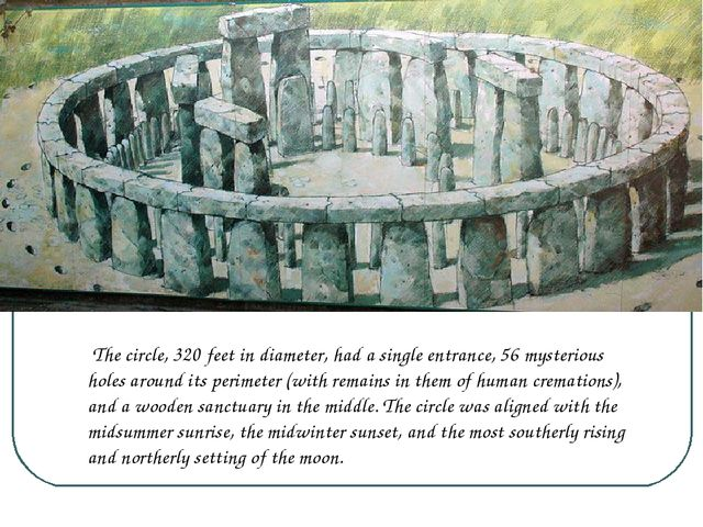 The circle, 320 feet in diameter, had a single entrance, 56 mysterious holes...