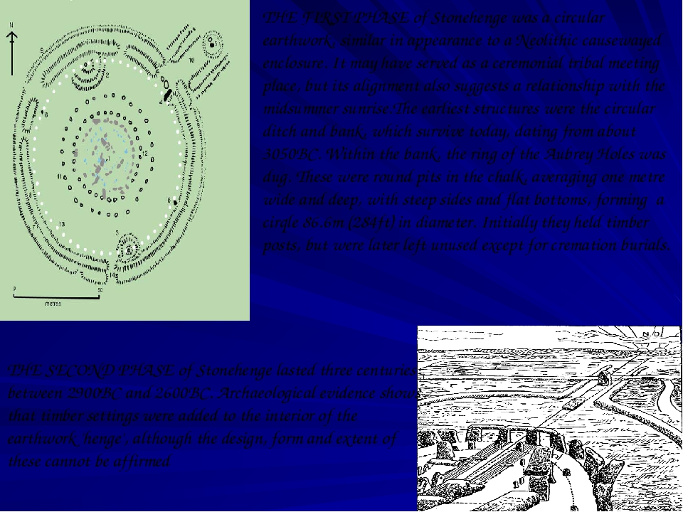 THE FIRST PHASE of Stonehenge was a circular earthwork, similar in appearance...