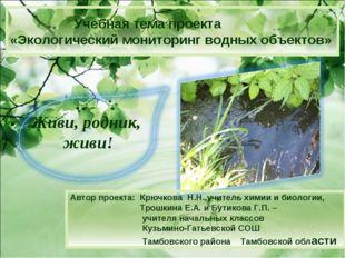 » Учебная тема проекта «Экологический мониторинг водных объектов» Автор проек