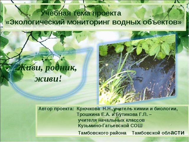» Учебная тема проекта «Экологический мониторинг водных объектов» Автор проек...