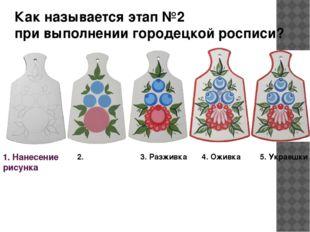 1. Нанесение рисунка 3. Разживка 4. Оживка 5. Украешки Как называется этап №2