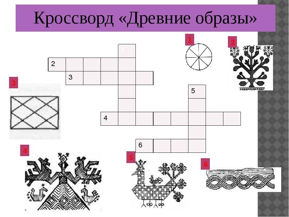 Кроссворд «Древние образы» 1 2 3 4 5 6 1 2 3 5 4 6
