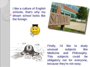 I like a culture of English schools, that's why my dream school looks like th