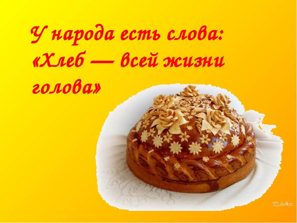 У народа есть слова: «Хлеб — всей жизни голова»