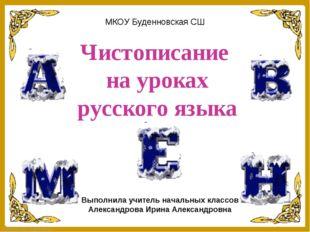 Чистописание на уроках русского языка Выполнила учитель начальных классов Але