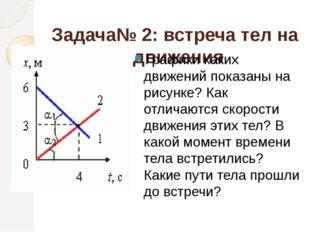 Задача№ 2: встреча тел на графике движения Графики каких движений показаны на