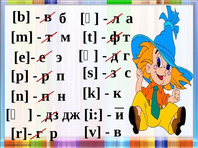 [b] - в б [m] - т м [e]- е э [p] - р п [n] - п н [ʤ] - дз дж [r]- г р [ʌ] - л...
