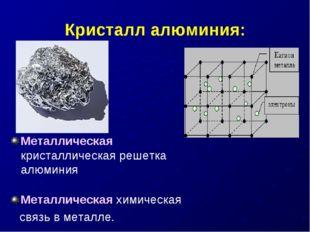Кристалл алюминия: Металлическая кристаллическая решетка алюминия Металлическ