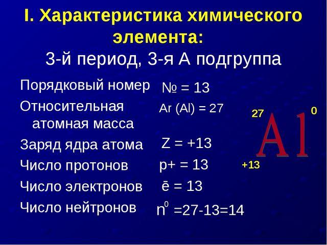 I. Характеристика химического элемента: 3-й период, 3-я А подгруппа Порядковы...