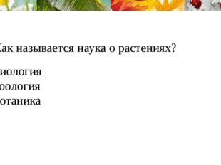 1.Как называется наука о растениях? Биология Зоология Ботаника