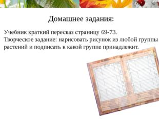 Домашнее задания: Учебник краткий пересказ страницу 69-73. Творческое задание