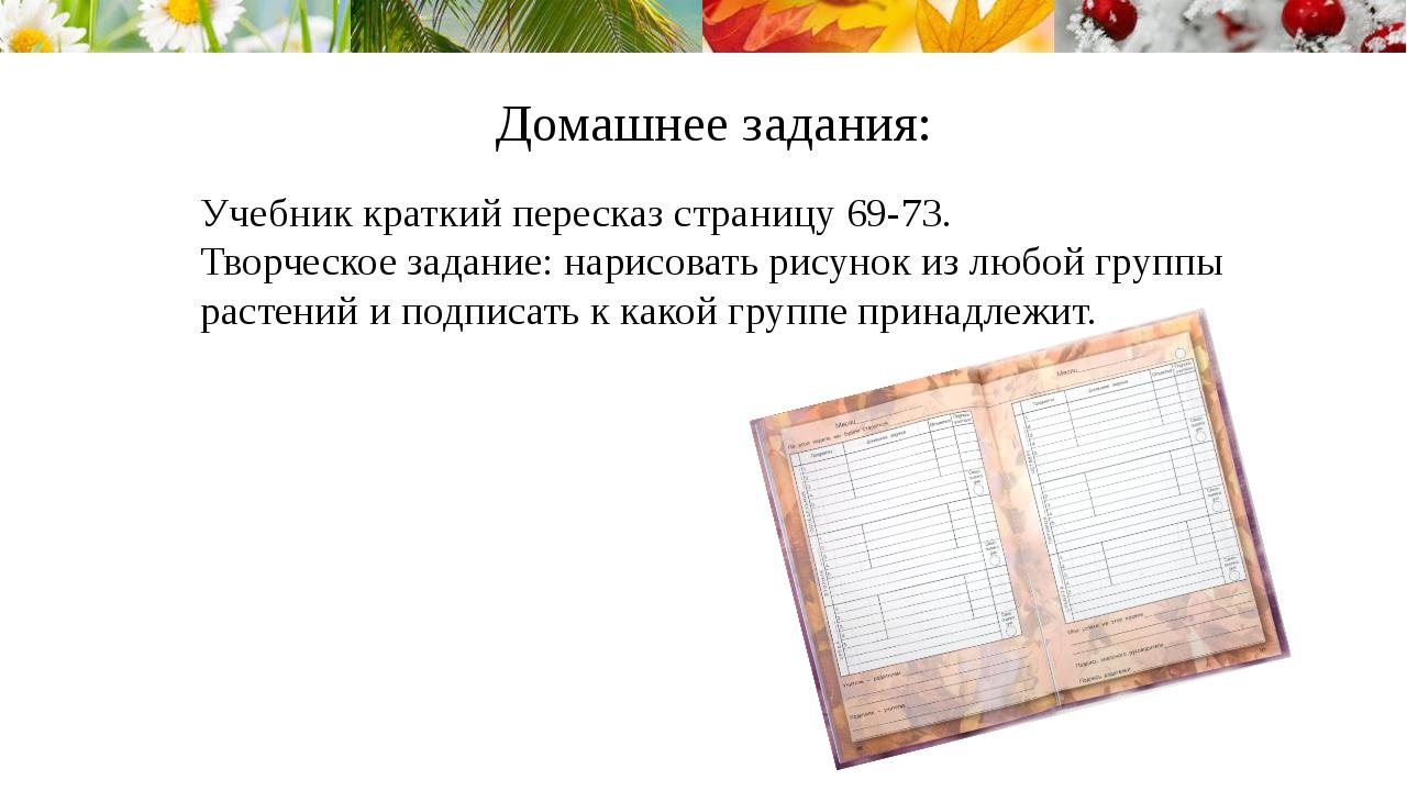 Домашнее задания: Учебник краткий пересказ страницу 69-73. Творческое задание...