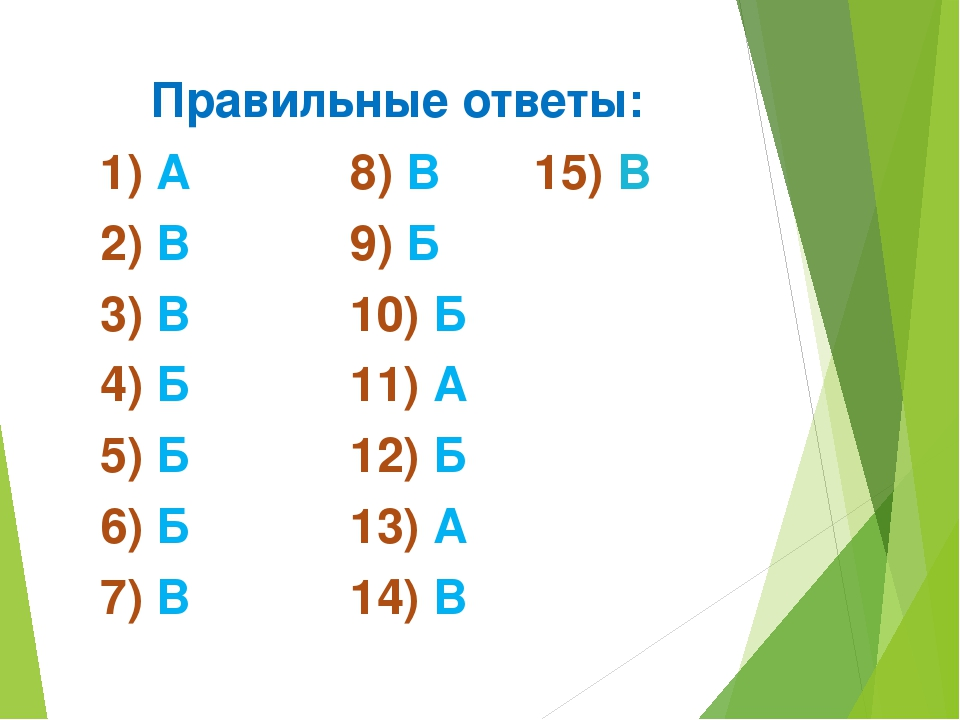 Правильные ответы: 1) А 8) В 15) В 2) В 9) Б 3) В 10) Б 4) Б 11) А 5) Б 12) Б...