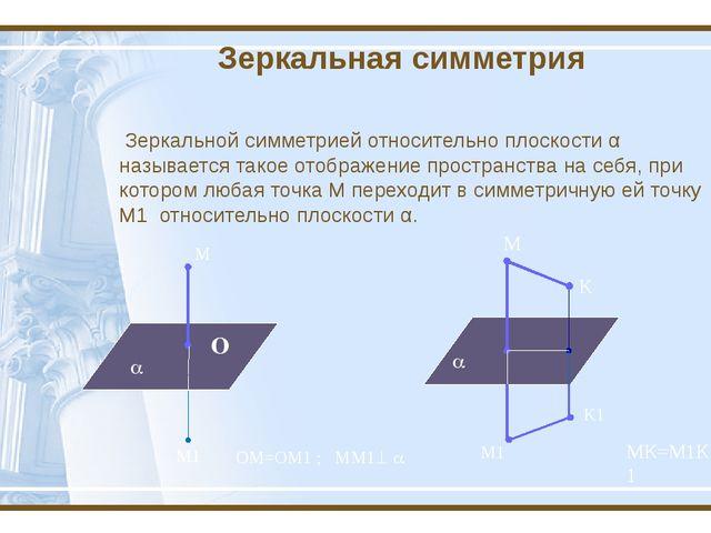 Зеркальная симметрия Зеркальной симметрией относительно плоскости α называетс...
