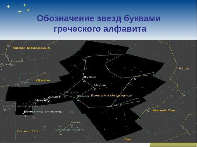 Обозначение звезд буквами греческого алфавита