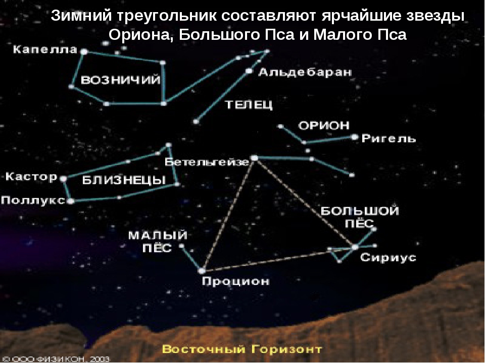 Зимний треугольник составляют ярчайшие звезды Ориона, Большого Пса и Малого Пса