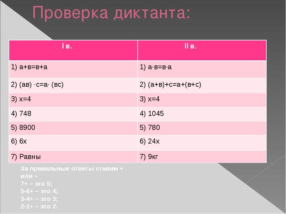 Проверка диктанта: За правильные ответы ставим + или – 7+ – это 5; 5-6+ – это...