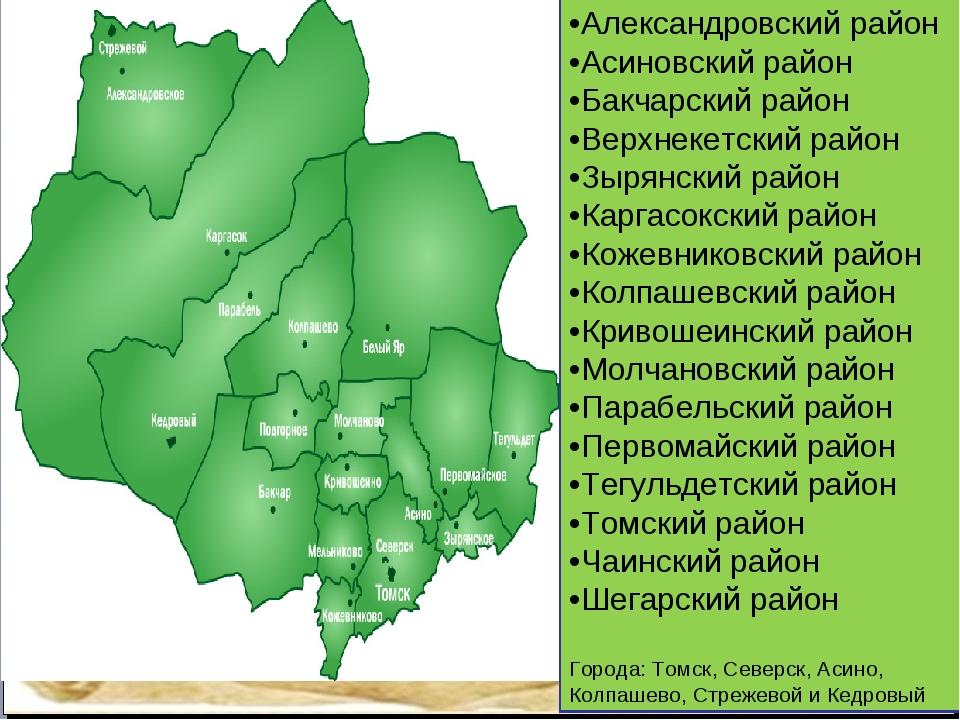 Пункт 1 Пункт 2 Пункт 3 •Александровский район •Асиновский район •Бакчарский...