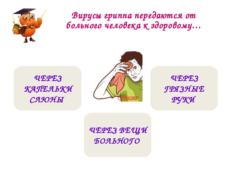 Вирусы гриппа передаются от больного человека к здоровому… ЧЕРЕЗ КАПЕЛЬКИ СЛ...