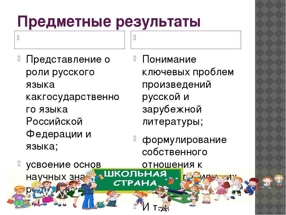 Предметные результаты Русский язык Литература Представление о роли русского я...