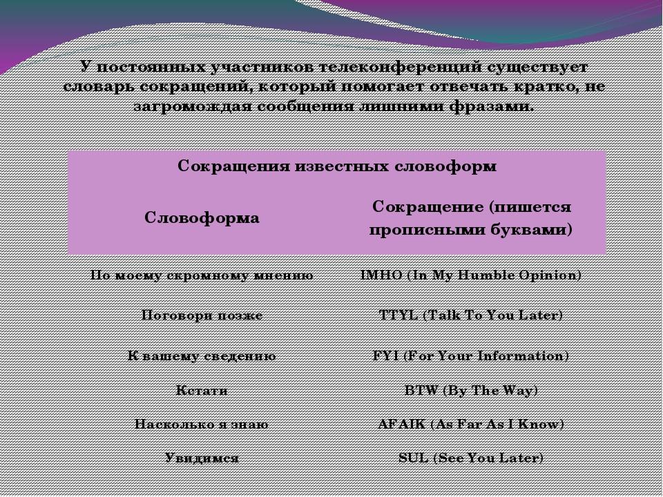 У постоянных участников телеконференций существует словарь сокращений, которы...