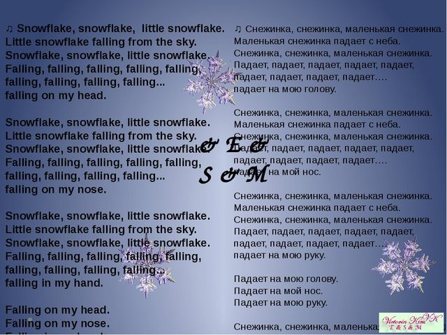 ♫ Snowflake, snowflake,  little snowflake.  Little snowflake falling from the...
