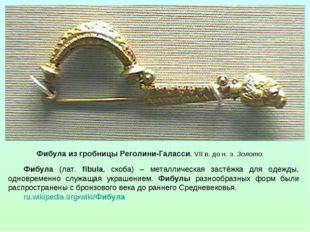 Фибула из гробницы Реголини-Галасси. VII в. до н. э. Золото. Фибула (лат. fib