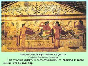 «Погребальный пир». Фреска. 5 в. до н. э. Гробница Леопардов. Тарквинии Для э