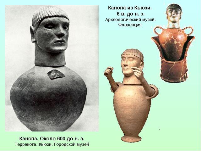 Канопа. Около 600 до н. э. Терракота. Кьюзи. Городской музей Канопа из Кьюзи....