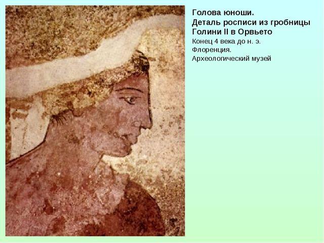 Голова юноши. Деталь росписи из гробницы Голини II в Орвьето Конец 4 века до...