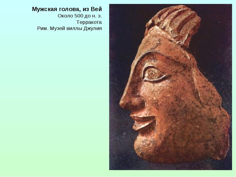 Мужская голова, из Вей Около 500 до н. э. Терракота Рим. Музей виллы Джулия