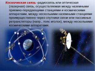Космическая связь -радиосвязь или оптическая (лазерная) связь, осуществляемая