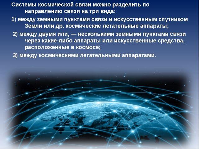 Системы космической связи можно разделить по направлению связи на три вида: 1...