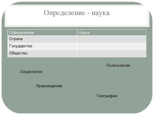 Определение - наука Социология География Политология Правоведение Определение...