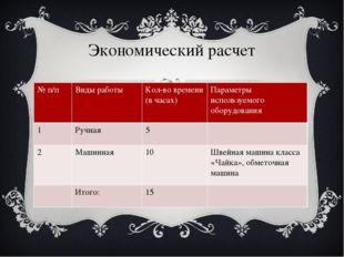 Экономический расчет № п/п Видыработы Кол-во времени (в часах) Параметры испо