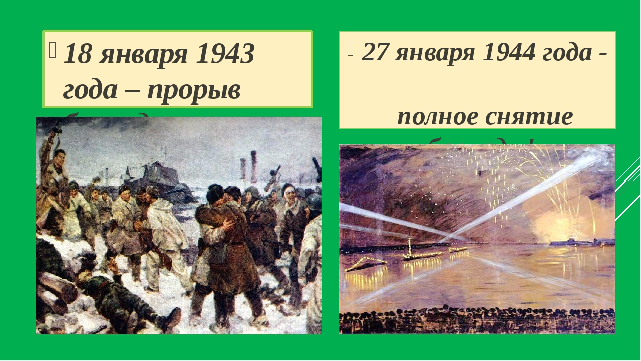 18 января 1943 года – прорыв блокады 27 января 1944 года - полное снятие блок...