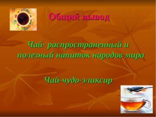Общий вывод Чай- распространенный и полезный напиток народов мира Чай-чудо-эл