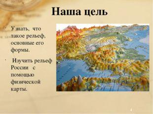 Наша цель Узнать, что такое рельеф, основные его формы. Изучить рельеф России