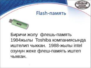 Биричи жолу флешь-память 1984жылы Toshiba компаниясында иштелип чыккан. 1988-